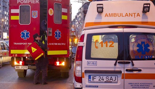 Πυροσβεστικό και ασθενοφόρο στη Ρουμανία. Φωτο αρχείου.