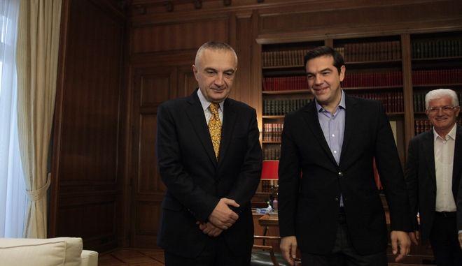 Συνάντηση του πρωθυπουργού, Αλέξη Τσίπρας με τον πρόεδρο του Κοινοβουλίου της Δημοκρατίας της Αλβανίας, Ίλιρ Μέτα, στο Μέγαρο Μαξίμου, την Τετάρτη 12 Οκτωβρίου 2016. (EUROKINISSI/ΓΙΑΝΝΗΣ ΠΑΝΑΓΟΠΟΥΛΟΣ)
