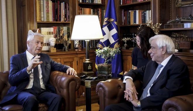 Συνάντηση του Προέδρου της Δημοκρατίας Προκόπη Παυλόπουλου με τον Γενικό Γραμματέα του Συμβουλίου της Ευρώπης, Τουρμπγέρν Γιάγκλαντ, την Τρίτη 18 Σεπτεμβρίου 2018, στο Προεδρικό Μέγαρο