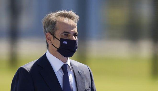 Ο πρωθυπουργός, Κυριάκος Μητσοτάκης, κατά τη διάρκεια των εργασιών της Συνόδου του ΝΑΤΟ, στις Βρυξέλλες.