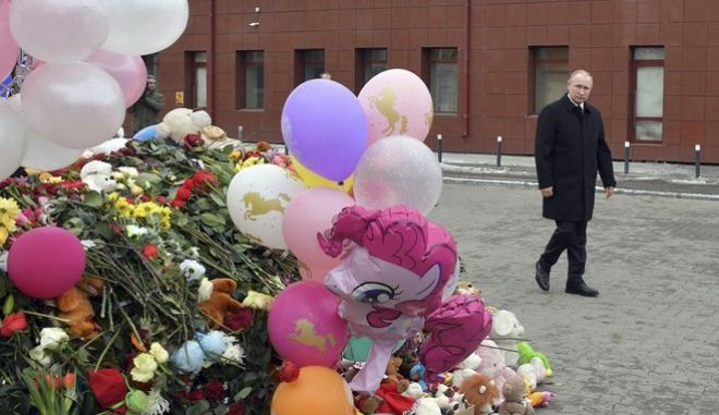 Ο Πούτιν στον τόπο της τραγωδίας στο Κεμέροβο