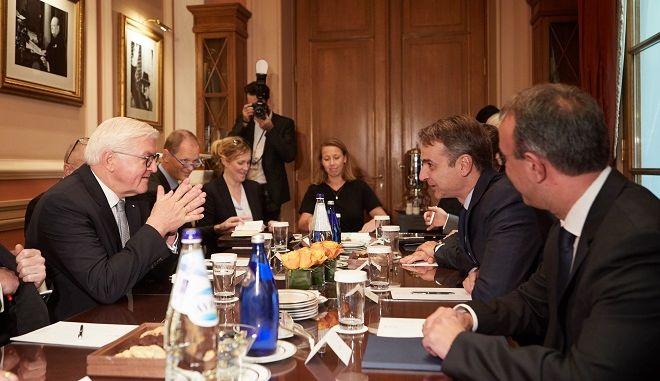 Συνάντηση του προέδρου της Νέας Δημοκρατίας Κυριάκου Μητσοτάκη με τον πρόεδρο της Ομοσπονδιακής Δημοκρατίας της Γερμανίας, Φράνκ Βάλτερ Σταϊνμάιερ
