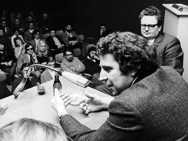Greek Composer Theodorakis  during a speech in Hanover, Germany on the military dictatorship in Greece on April 29, 1970. Theodorakis visited several German cities talking on the same subject in Germany. The composer is currently living in exile in Paris, France. (AP Photo/ Fritz Reiss)