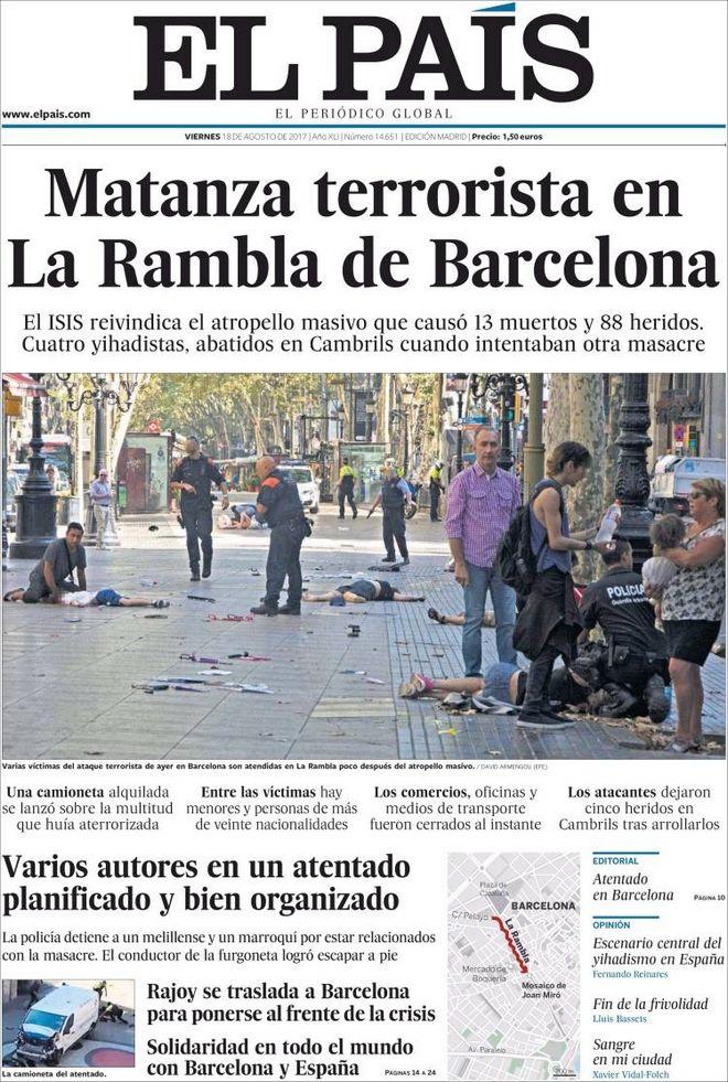 Τα πρωτοσέλιδα του Διεθνούς Τύπου για τη διπλή τρομοκρατική επίθεση στην Ισπανία