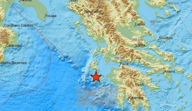 Το επίκεντρο του σεισμού 3,7 Ρίχτερ στη Ζάκυνθο