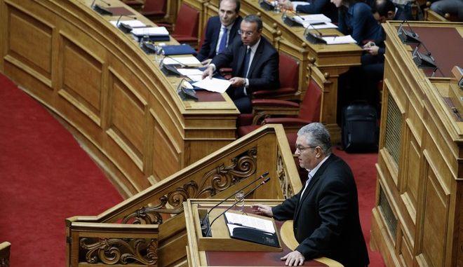 Ο Γενικός Γραμματέας της ΚΕ του ΚΚΕ, Δημήτρης Κουτσούμπας, στη Βουλή