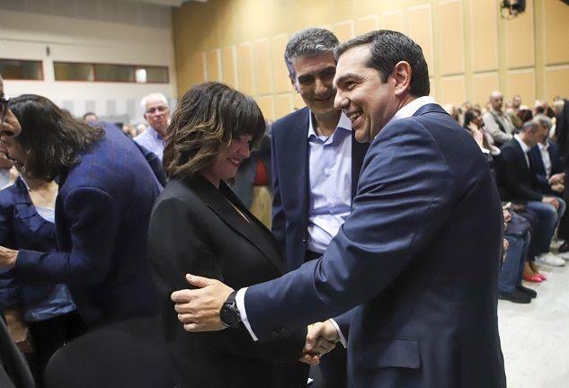 Ο Πρωθυπουργός Αλέξης Τσίπρας στην εκδήλωση για την παρουσίαση του συνδυασμού «Κοιτάμε Μπροστά» του υποψηφίου Περιφερειάρχη Κεντρικής Μακεδονίας, Χρήστου Γιαννούλη