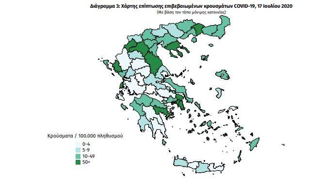 Κορονοϊός: Ο χάρτης των κρουσμάτων στην Ελλάδα - Τα ταξίδια από το εξωτερικό και η αύξηση του Ιουλίου