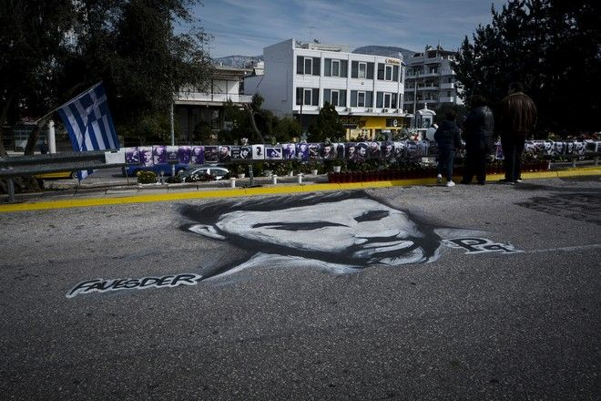 Γκράφιτι στον δρόμο όπου σκοτώθηκε ο Παντελής Παντελίδης