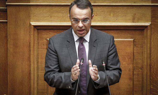 Ο Χρήστος Σταϊκούρας, στο βήμα της Βουλής