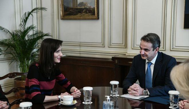 Συνάντηση του Πρωθυπουργού Κυριάκου Μητσοτάκη με την Επίτοπο της Ευρωπαϊκής Ένωσης Μαρίγια Γκάμπριελ αρμόδια για την Καινοτομία, Έρευνα, Πολιτισμό, Εκπαίδευση και Νεολαία