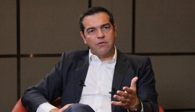 Συνέντευξη του προέδρου του ΣΥΡΙΖΑ, Αλέξη Τσίπρα στο κανάλι alsat της Βόρειας Μακεδονίας