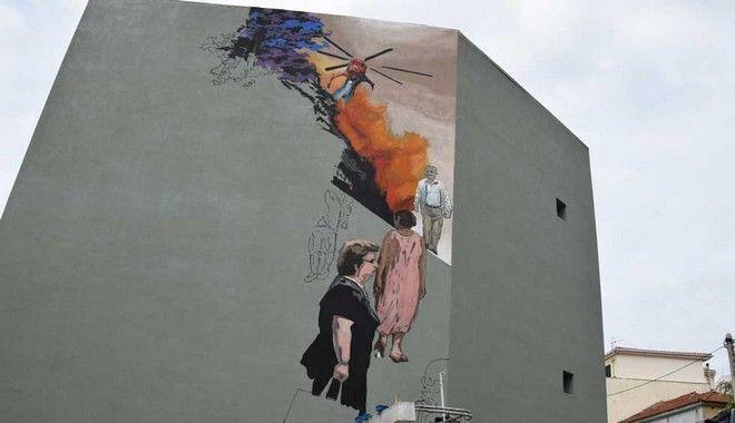 Τοιχογραφία από την Art in Progress και τον Πατρινό Street Artist KLE στον εξωτερικό τοίχο του 7ου Γυμνασίου Πατρών, Ασημάκη Φωτήλα και Ζαλόγγου.