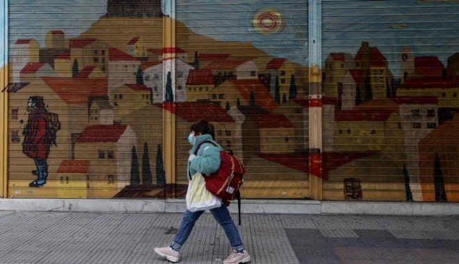 Δρόμος στην Αθήνα σε καιρό πανδημίας κορονοϊού