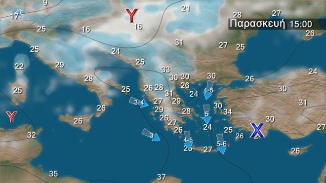 Σχεδόν αίθριος ο καιρός με μελτέμι έως 7 μποφόρ στο Αιγαίο