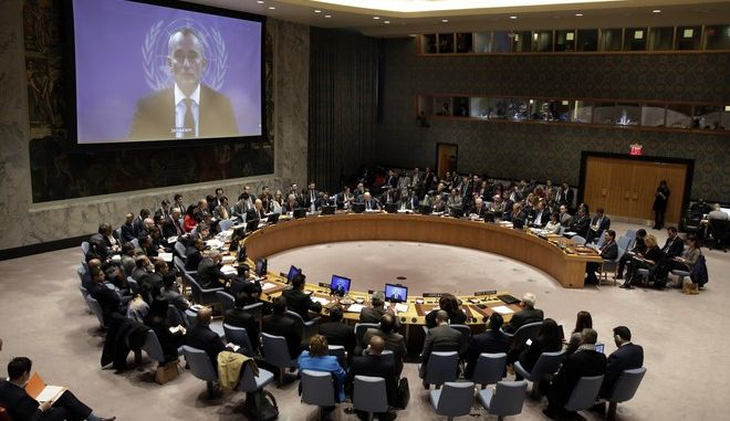 United Nations Special Coordinator for the Middle East Peace Process Nikolay Mladenov, on screen, addresses the Security Council, from Jerusalem, at United Nations headquarters, Friday, Dec. 8, 2017. (AP Photo/Richard Drew)