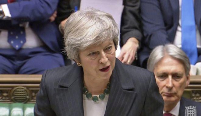 Η Βρετανίδα πρωθυπουργός Τερέσα Μέι στη Βουλή των Κοινοτήτων