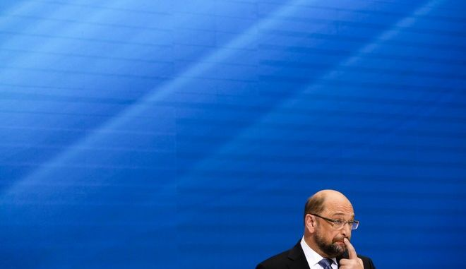 Martin Schulz, Social Democratic Party, SPD, top candidate for the upcoming parliament election in Germany attends a news conference in Berlin, Monday, Sept. 11, 2017. General election will held in Germany Sept. 24, 2017. (AP Photo/Markus Schreiber)