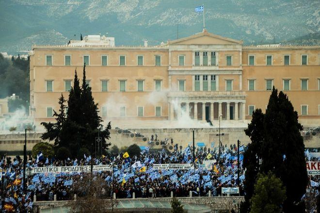 Γενική άποψη από το συλλαλητήριο για την Μακεδονία στο Σύνταγμα.