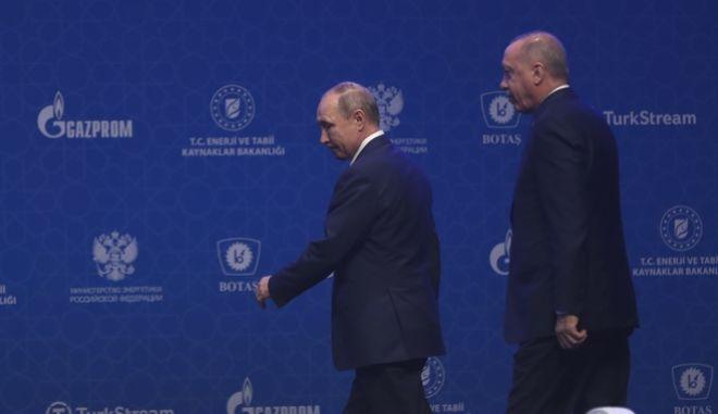 Πούτιν - Ερντογάν. Φωτό αρχείου.