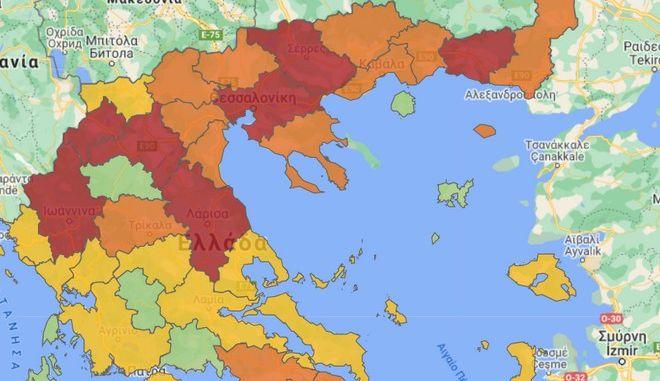 """Κορονοϊός: Ο νέος χάρτης υγειονομικής ασφάλειας - Ποιες περιοχές είναι στο """"κόκκινο"""""""