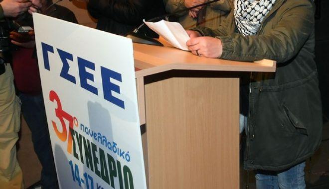 Εικόνα από το 37ο Συνέδριο της ΓΣΕΕ στη Καλαμάτα που διεκόπη λόγω παρέμβασης του ΠΑΜΕ