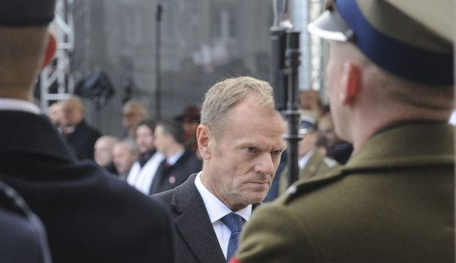 European Union President Donald Tusk attends the official ceremony marking Poland's Independence Day, in Warsaw, Poland, Saturday, Nov. 11, 2017. Tusk joined celebrations in his native Poland on Independence Day, which celebrates the nation regaining its sovereignty at the end of World War I after being wiped off the map for more than a century.  (AP Photo/Alik Keplicz)