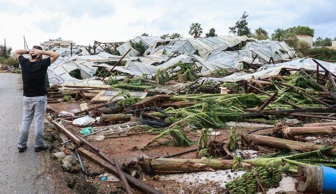 Κρήτη: Εικόνες καταστροφής μετά την έντονη χαλαζόπτωση