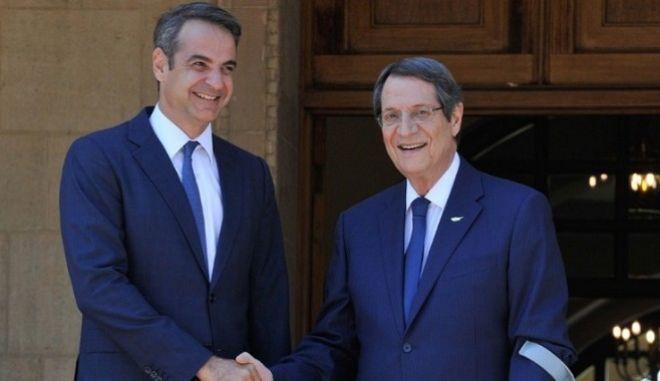 Κ.Μητσοτάκης και Ν. Αναστασιάδης κατά την επίσκεψη του πρωθυπουργού στην Κύπρο