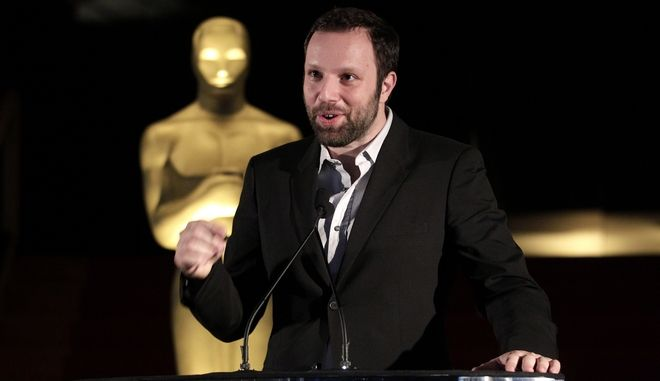 """Yorgos Lanthimos, a Greek director of the Oscar-nominated foreign language film """"Dogtooth,"""" speaks during the Foreign Language Award Directors reception in Beverly Hills, Calif., Friday, Feb. 25, 2011. (AP Photo/Jae C. Hong)"""