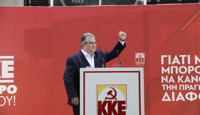 Ομιλία του ΓΓ της ΚΕ του ΚΚΕ Δημήτρη Κουτσούμπα στο κλειστό γήπεδο στην Καισαριανή, στην πολιτική συγκέντρωση που διοργάνωσε η Τομεακή Επιτροπή Ανατολικών του ΚΚΕ