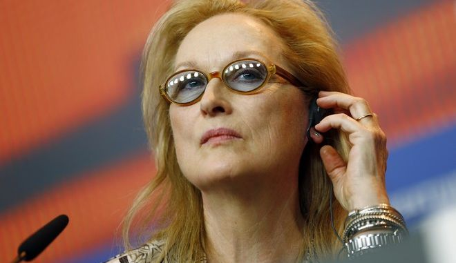 FILE - In this Thursday, Feb. 11, 2016 file photo, Jury President Meryl Streep attends a press conference at the 2016 Berlinale Film Festival in Berlin, Germany, Thursday, Feb. 11, 2016. After more than a week of red-carpet screenings, the jury at the Berlin International Film Festival is set to announce the winner of its Golden Bear award for best movie and other honors. Winners at the Berlinale, the first of the year's major European film festivals, are notoriously hard to predict. This year's jury, led by Meryl Streep, is choosing between 18 entries from across the globe.  (AP Photo/Axel Schmidt, File)