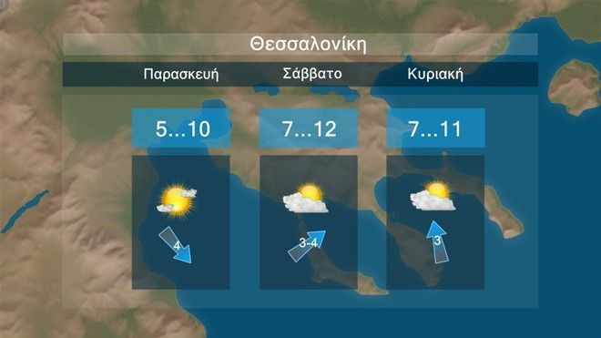Ο καιρός στη Θεσσαλονίκη τις επόμενες μέρες