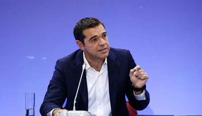 Greece's prime minister Alexis Tsipras delivers press conference during the 82nd Thessaloniki International Fair (TIF) in Thessaloniki, Greece on September 10, 2017. /          82 , , 10  2017.