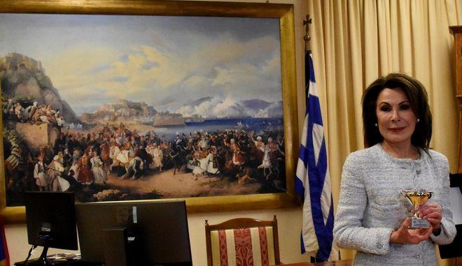 Η Γιάννα Αγγελοπούλουού όπου παρουσιάστηκε το πλαίσιο συνεργασίας του Δήμου Ναυπλιέων με την επιτροπή. (EUROKINISSI/ ΒΑΣΙΛΗΣ ΠΑΠΑΔΟΠΟΥΛΟΣ)