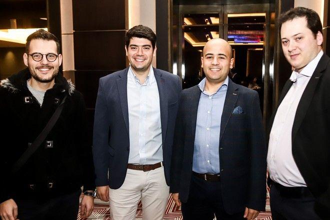 Από αριστερά: Μπάμπης Τσιμπίδας, Δημήτρης Σαμόλης, Ηλίας Καλλονάς & Κώστας Μπράτσος, Δημοσιογράφοι Sport24.gr