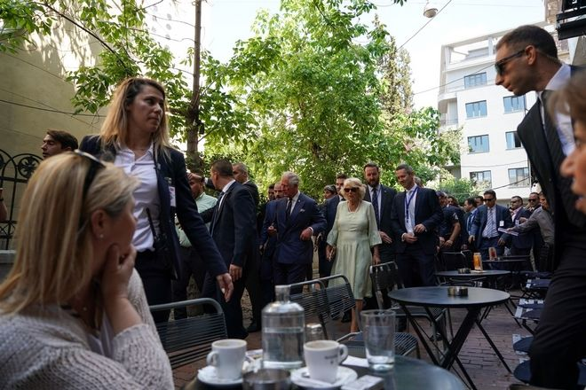 Prince of Wales Charles and his wife Duchess of Cornwall Camilla Parker Bowles walk in the center of Athens during their three days official visit in Greece on May 10, 2018. /         ,      ,              , 10  2018.