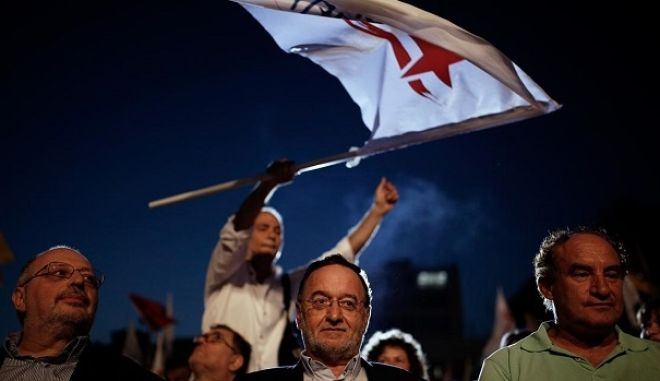 The leader of Popular Unity party, Panayiotis Lafazanis, delivers speech during a pre-electoral rally three days before the parliamentary election, in Thessaloniki, Greece on September 17, 2015. /               , 17  2015.
