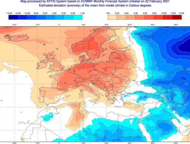 Με υψηλές θερμοκρασίες φεύγει ο Φεβρουάριος, ωστόσο αναμένεται πτώση της θερμοκρασίας από αρχές Μαρτίου