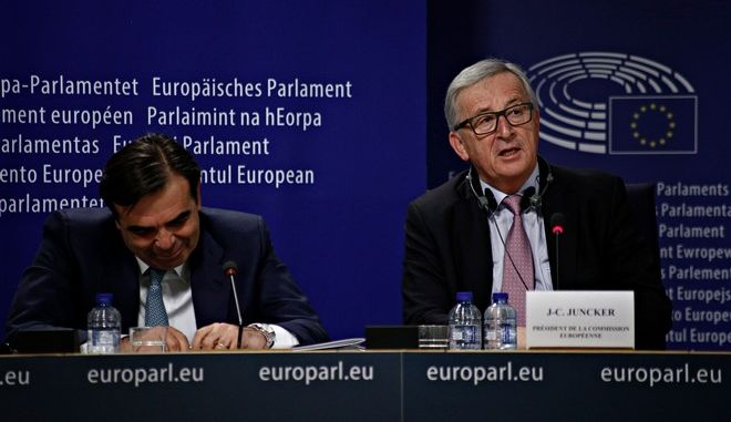 President of the European Parliament Antonio Tajani and European Commission President Jean-Claude Juncker hold a press conference after the presentation of the White Paper on the Future of Europe by European Commission President Jean-Claude Juncker at the European Parliament in Brussels, Belgium on March 1, 2017 /             -                      ,   1 , 2017