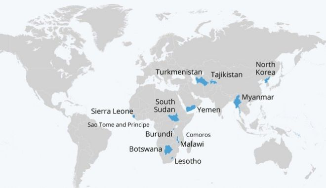 Ο χάρτης των χωρών που αναφέρουν ότι έχουν αποφύγει τον κορονοϊό