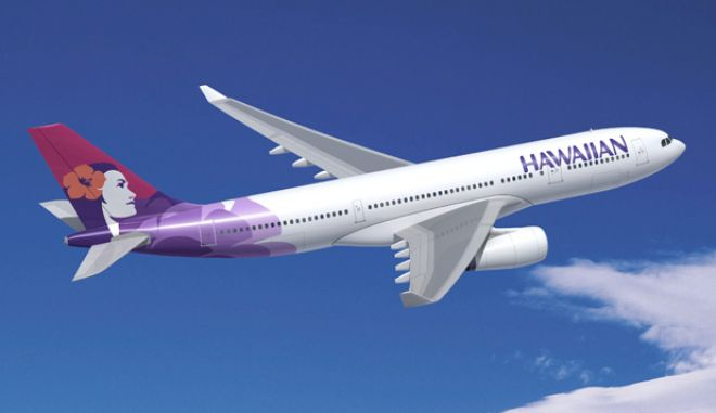 A Hawaiian Airlines Airbus A330-200 in flight.