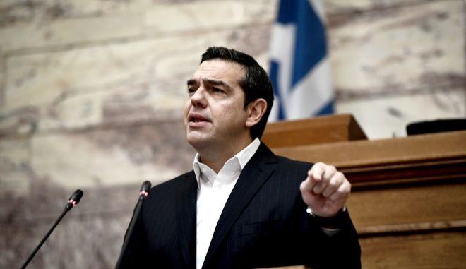 Ομιλία του Προέδρου του ΣΥΡΙΖΑ Αλέξη Τσίπρα στα πλαίσια της συνεδρίασης της ΚΟ. Τετάρτη 4/12/2019. (EUROKINISSI/ΜΠΟΛΑΡΗ ΤΑΤΙΑΝΑ )