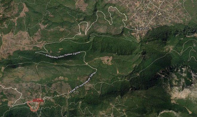 Η περιοχή που ξέσπασε η φωτιά ανάμεσα στα Πίσια και τον Σχίνο