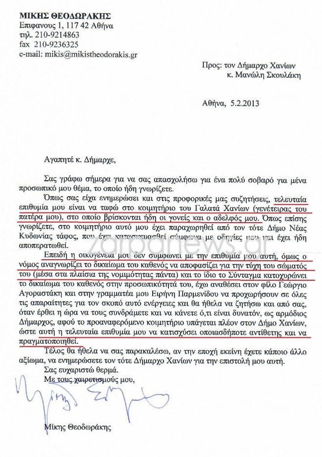 Αποκάλυψη NEWS 24/7: O Μίκης Θεοδωράκης έχει αγοράσει τον τάφο του στον Γαλατά Χανίων