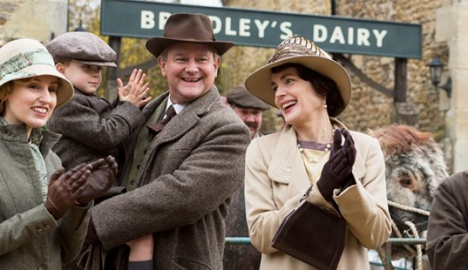 Downton Abbey Part Two - Sunday,  January 10, 2016 at 9pm ET on MASTERPIECE on PBS  Wedding plans hit a snag. Pigs lead to trouble for Edith and Marigold. Thomas gets a hint. Anna has a secret appointment. Violet and Isobel lock horns over health care.   Shown from left to right: Laura Carmichael as Lady Edith, Oliver/Zac Barker as Master George, Hugh Bonneville as Lord Grantham, and Elizabeth McGovern as Cora   (C) Nick Briggs/Carnival Film & Television Limited 2015 for MASTERPIECE   This image may be used only in the direct promotion of MASTERPIECE CLASSIC. No other rights are granted. All rights are reserved. Editorial use only. USE ON THIRD PARTY SITES SUCH AS FACEBOOK AND TWITTER IS NOT ALLOWED.