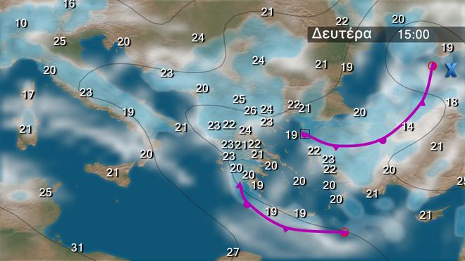 Χάρτης πρόγνωσης βροχοπτώσεων στα Βαλκάνια