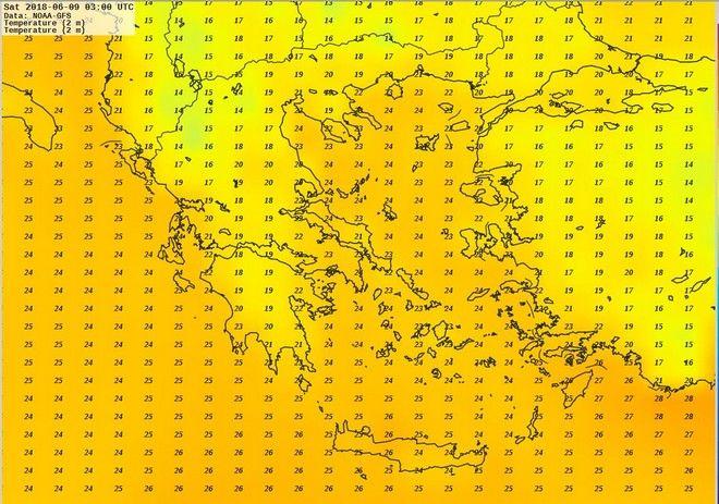 Χάρτης ελάχιστων θερμοκρασιών
