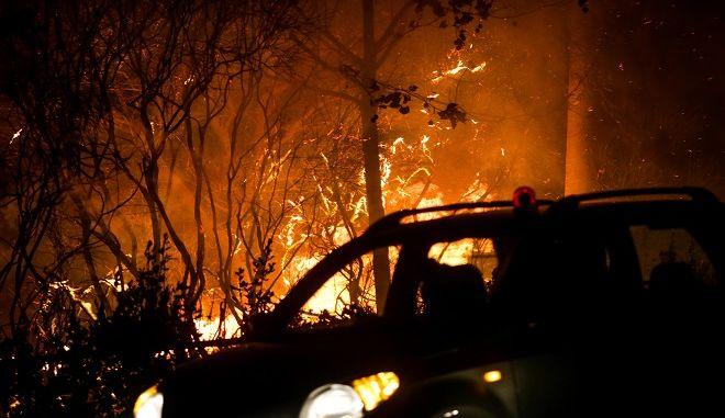 Εικόνες από την φωτιά στην περιοχή της Ραφήνας