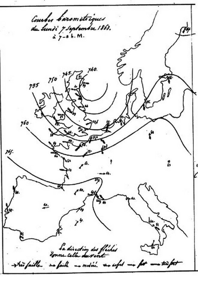 O πρώτος δημόσιος ισοβαρικός χάρτης που εκδόθηκε στις 7 Σεπτεμβρίου του 1863